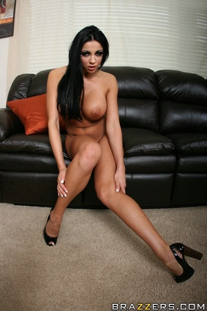 Tan chick's long, dark hair is pulled while she gets fucked hard on a black couch. - XXXonXXX - Pic 5