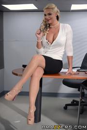 voluptuous business woman gets