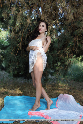 big tits brunette posing