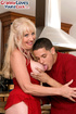 Wild blonde mam in red dress seduces delivery buy to fuck her ass in the