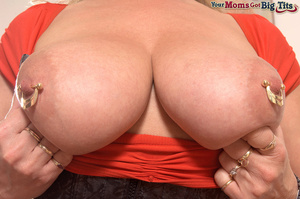 Hot shaped busty milf in short tight dress flaunts rings on her big tits and pussy - XXXonXXX - Pic 13
