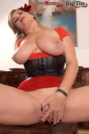 Hot shaped busty milf in short tight dress flaunts rings on her big tits and pussy - XXXonXXX - Pic 15
