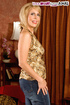 Sexy shaped blonde mama in gold top and jeans pants sucks cock and ass