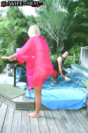 curvy blonde housewife red