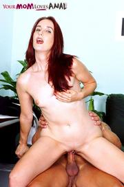 lusty redhead blue top