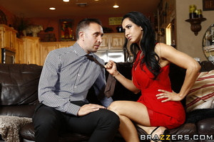 Housewife in red gets horny and fucks her visitor on the sofa. - XXXonXXX - Pic 10
