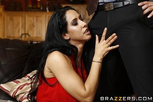 Housewife in red gets horny and fucks her visitor on the sofa. - XXXonXXX - Pic 11