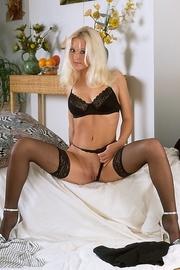 foxy blonde strips off