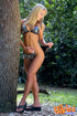 Foxy blonde tease with her indulging body in different poses wearing her