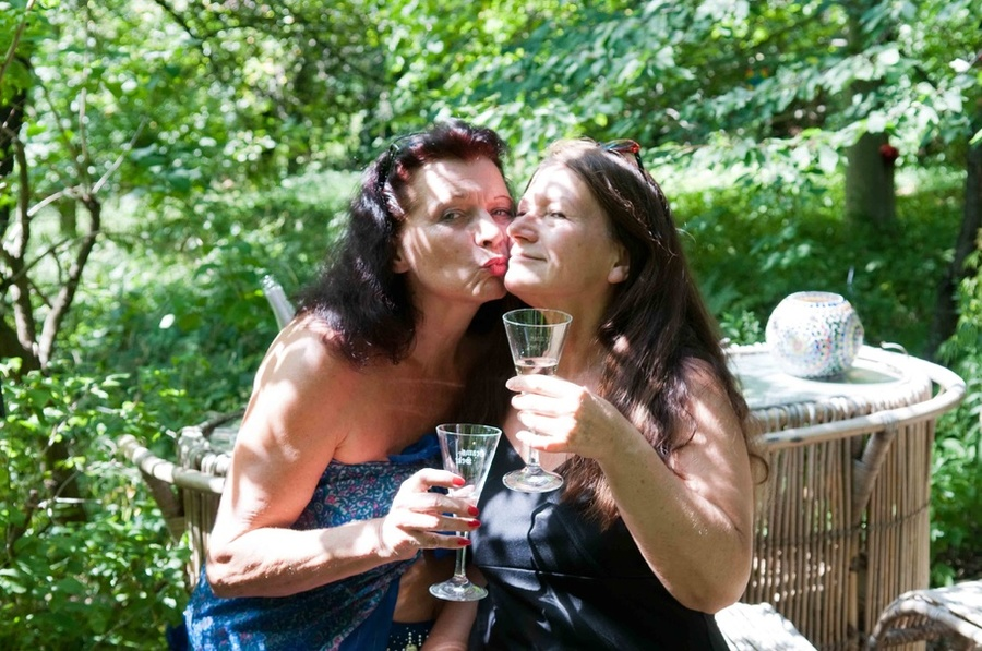 Old slutty grannies are partying buck naked outdoors making out on green  grass - XXXonXXX -
