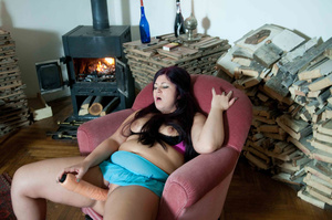 Chubby babe with a huge dildo masturbates next to a fireplace and then on the floor - XXXonXXX - Pic 4