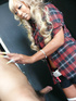Superb blonde wearing neon pink and flowery undergarment with red plaid