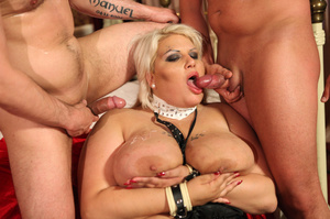 Fat blonde with huge boobs gets fucked by two horny blokes with big dongs - XXXonXXX - Pic 2