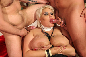 Fat blonde with huge boobs gets fucked by two horny blokes with big dongs - XXXonXXX - Pic 3