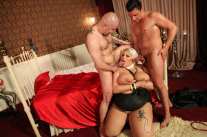 Fat blonde with huge boobs gets fucked by two horny blokes with big dongs - XXXonXXX - Pic 5
