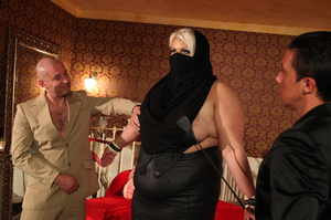 Fat blonde with huge boobs gets fucked by two horny blokes with big dongs - XXXonXXX - Pic 7