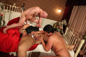 Fat blonde with huge boobs gets fucked by two horny blokes with big dongs - XXXonXXX - Pic 9