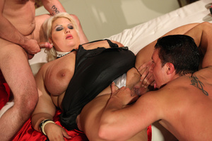 Fat blonde with huge boobs gets fucked by two horny blokes with big dongs - XXXonXXX - Pic 10