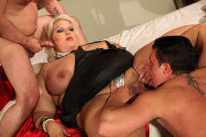 Fat blonde with huge boobs gets fucked by two horny blokes with big dongs - XXXonXXX - Pic 11