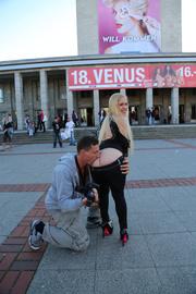 blonde stunner poses seductively