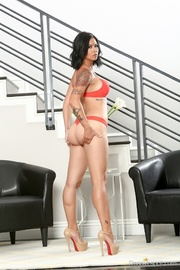 red lingerie tatted-up exotic