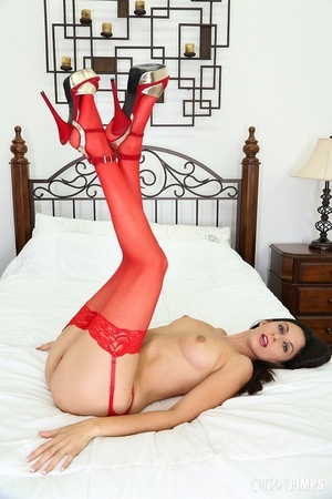 Skinny brunette dressed in red toy-fucking her pussy - XXXonXXX - Pic 4