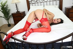 Skinny brunette dressed in red toy-fucking her pussy - XXXonXXX - Pic 5