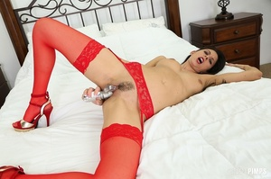 Skinny brunette dressed in red toy-fucking her pussy - XXXonXXX - Pic 10
