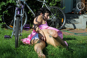 Luscious babe pose her foxy body then reveals shows her lusty pussy wearing her pink dress and white panty in a garden before she gets naked and shows her sweet boobs while she nails her sweet crack on a purple bike. - XXXonXXX - Pic 8