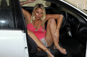 Blonde hottie shows her lusty boobs and luscious pussy as she pose her steaming hot body in different poses wearing her pink and green nighty and white panty in a car. - XXXonXXX - Pic 2