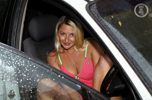 Blonde hottie shows her lusty boobs and luscious pussy as she pose her steaming hot body in different poses wearing her pink and green nighty and white panty in a car. - XXXonXXX - Pic 3