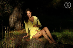 Steaming hot chick shows her juicy tits and indulging pussy in different poses wearing her yellow blouse and skirt in a garden. - XXXonXXX - Pic 1