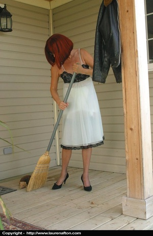 Redhead MILF cleaning her porch, stripping and peeing - XXXonXXX - Pic 2
