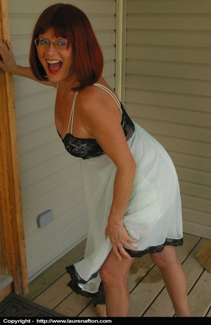 Redhead MILF cleaning her porch, stripping and peeing - XXXonXXX - Pic 5