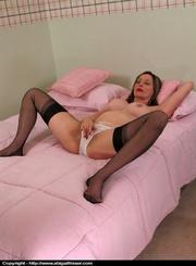 stockings-clad brunette white panties