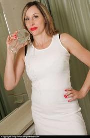 classy white dress milf