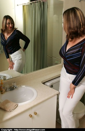 Tight white pants MILF wetting herself in the bathroom - XXXonXXX - Pic 1