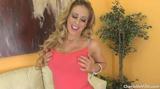 blue lingerie blonde milf