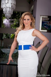 classy white dress blonde