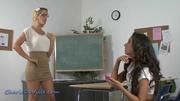 short skirt blonde teacher