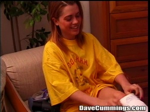 Yellow oversized t-shirt blonde sucking old man's cock - XXXonXXX - Pic 2