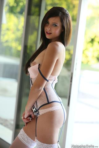 pink lingerie brunette shows