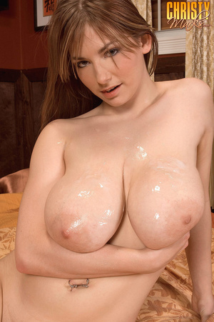 Brunette with bangs gets her natural tits covered in cum - XXXonXXX - Pic 16