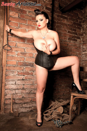 corset-wearing brunette dominatrix gets