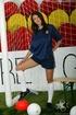 Atletico-loving brunette in white socks shows her pussy
