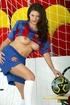 Barcelona fan brunette in knee-length socks gets naked