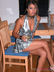 silver dress exotic babe