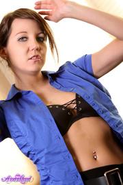 classy-looking brunette blue blouse