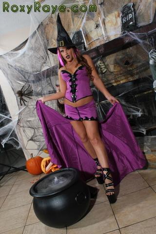 kinky brunette witch wearing
