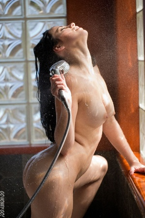 Amazing brunette has her pink pussy showered in the bathtub. - XXXonXXX - Pic 4